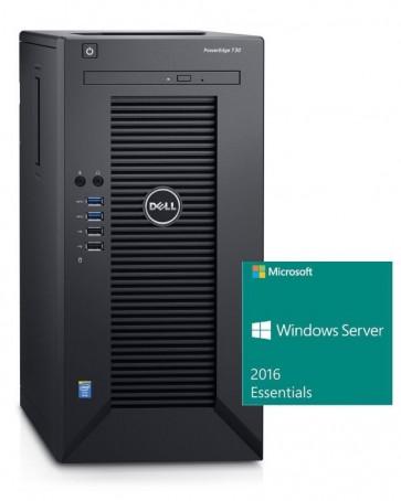DELL PowerEdge T30/ Xeon Quad Core E3-1225 v5/ 8GB/ 2x 1TB SATA RAID 1/ DVDRW/ GLAN/ 3Y PS/ Win Svr 2016 Essentials SVD031620S