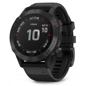 GARMIN GPS chytré hodinky fenix6 Glass, Black/Black Band (MAP/Music) 010-02158-02