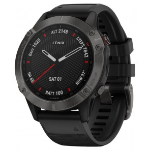 GARMIN GPS chytré hodinky fenix6 Sapphire, Gray/Black Band (MAP/Music) 010-02158-11