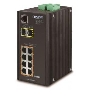 PLANET IGS-10020PT Průmyslový Switch, 8x 10/100/1000 PoE 802.3at (240W) + 2x 100/1000 SFP, Management, -40 +75°C IGS-10020PT