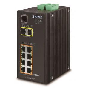 PLANET IGS-10020HPT Průmyslový Switch 8x 10/100/1000 PoE+ (270W) + 2x 100/1000 SFP, Management, -40 +75°C, 12-48VDC IGS-10020HPT
